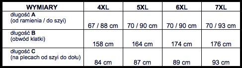 tabela wymiarów bluza NORTH54'6