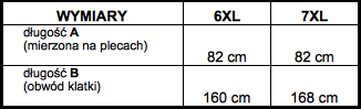 tabela wymiarów kamizelka Big Men Certified