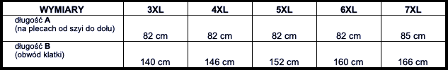 tabela wymiarów kurtka Big Men Certified
