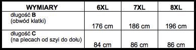 tabela wymiarów kamizelka North56'4