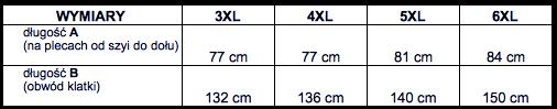 tabela wymiarów kamizelka Kitaro