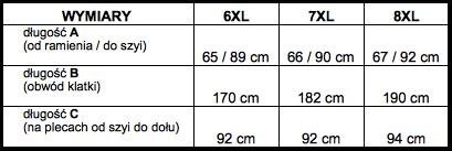 tabela wymiarów bluzka North