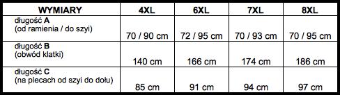 tabela wymiarów bluzka Replika