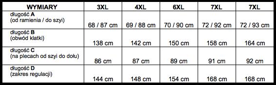 tabela wymiarów koszula LAVINO