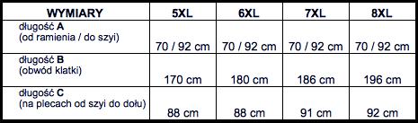 tabela wymiarów koszula NORTH56'4