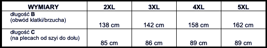 tabela wymiarów koszulka polo ESPIONAGE