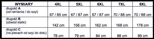 tabela wymiarów kurtka Kitaro