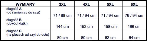 tabela wymiarów kurtka DUKE