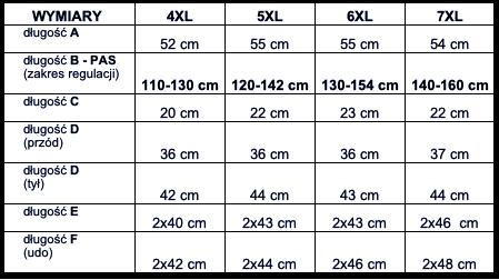 tabela wymiarów spodenki Big Men Certified