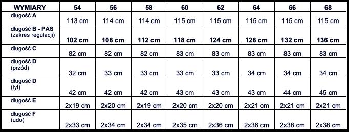 tabela wymiarów spodnie Viking