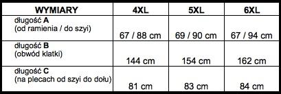 tabela wymiarów sweter KITARO