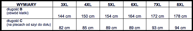 tabela wymiarów t-shirt Kitaro