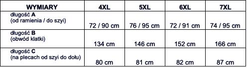 tabela wymiarów bluza DUKE