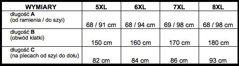 tabela wymiarów bluza Big Men Certified