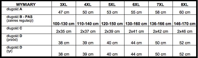 tabela wymiarów bokserki ADAMO