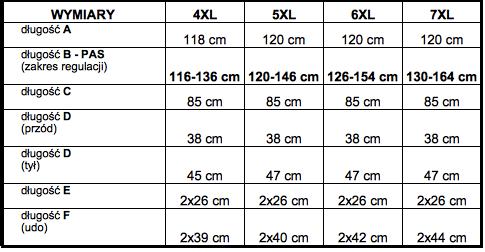 tabela wymiarów dresy Big Men Certified