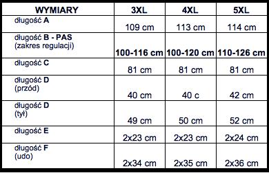 tabela wymiarów dresy POLO SPEED