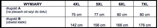 tabela wymiarów kamizelka polarowa Big Men Certified