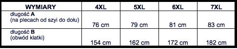 tabela wymiarów kurtka North56'4