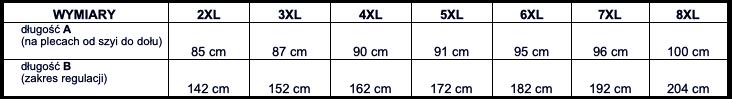 tabela wymiarów koszulka KITARO