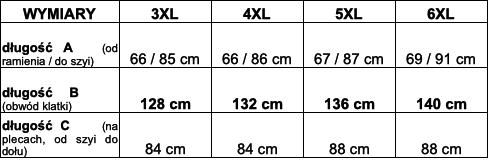 tabela wymiarów bluzka McMnaman