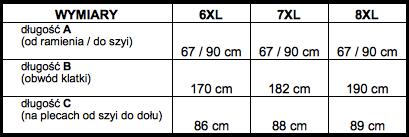 tabela wymiarów bluzka KITARO