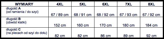 tabela wymiarów koszulka długi rękaw Replika