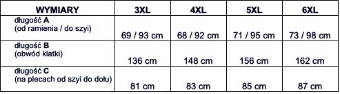 tabela wymiarów bluzka Big Men Certified