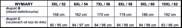 tabela wymiarów koszula długi rękaw BMC