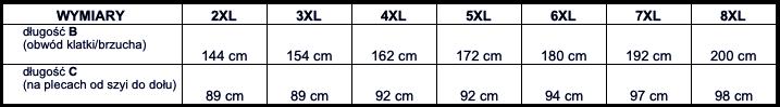 tabela wymiarów koszula Big Men Certified