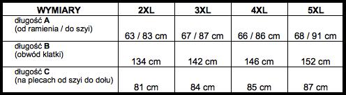 tabela wymiarów koszula HERALD