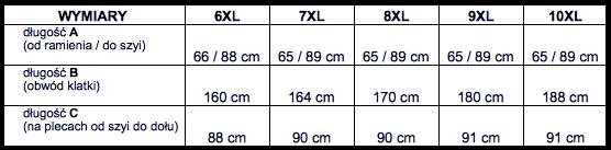 tabela wymiarów koszula długi rękaw DUKE