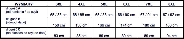 tabela wymiarów koszula długi rękaw Replika