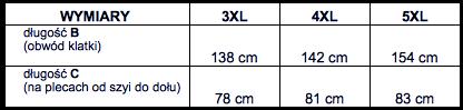 tabela wymiarów koszulka polo Kitaro
