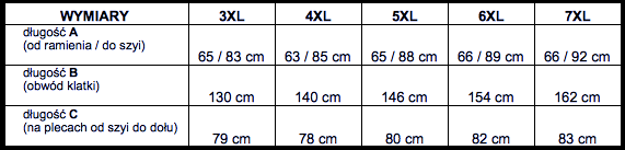 tabela wymiarów koszulka polo BAMEHA