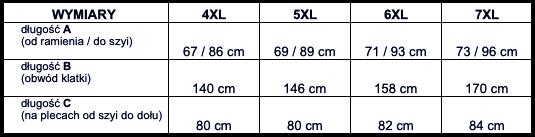 tabela wymiarów kurtka VIKING