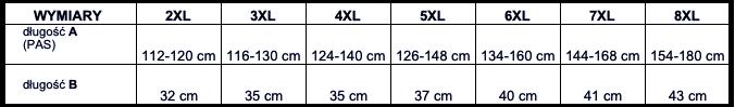 tabela wymiarów majtki Big Men Certified