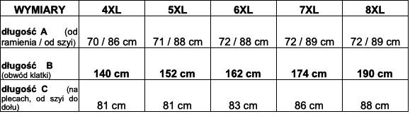 tabela wymiarów piżama Big Men Certified