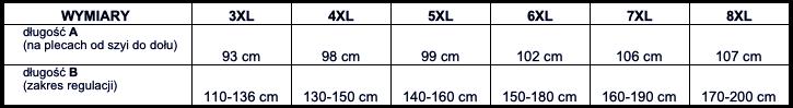 tabela wymiarów podkoszulka ADAMO
