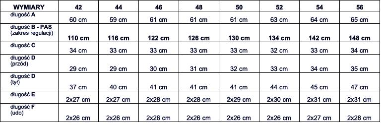 tabela wymiarów spodenki DUKE