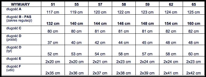 tabela wymiarów spodnie Big Men Certified