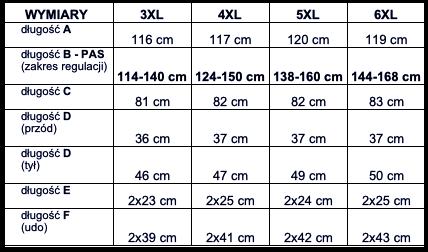 tabela wymiarów spodnie DUKE