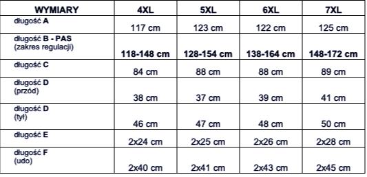 tabela wymiarów spodnie Sporium Life