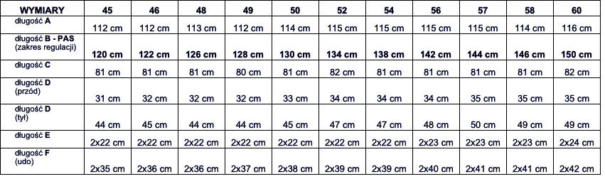 tabela wymiarów bluza Viking