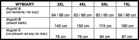 tabela wymiarów sweter Bameha