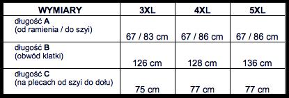 tabela wymiarów sweter Tony Montana