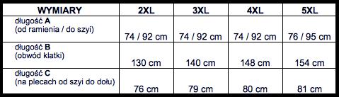 tabela wymiarów sweter DUKE