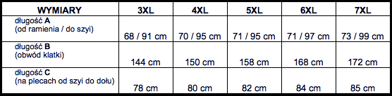 tabela wymiarów t-shirt Big Men Certified